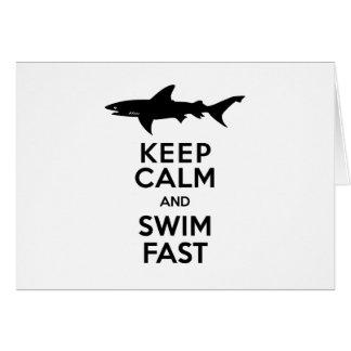 Avertissement drôle de requin - gardez le calme et carte de vœux