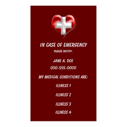 avertissement médical de taille de portefeuille modèles de cartes de visite