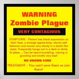 AVERTISSEMENT - peste de zombi Posters