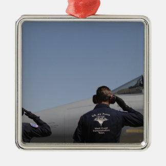 Aviateurs de l'Armée de l'Air d'USA Ornement Carré Argenté