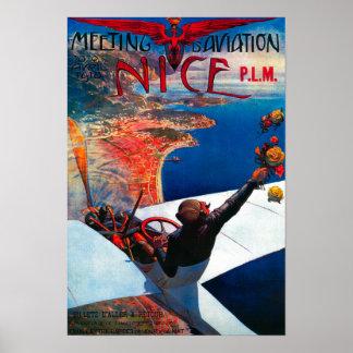 Aviation de D de réunion à Nice, affiche de la Fra Posters