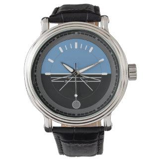 Aviation en cuir noire de la montre des hommes