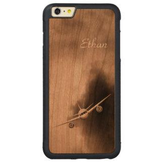 Avion à réaction dans l'iPhone en bois de pilote Coque Pare-chocs Mince En Cerisier iPhone 6 Plus