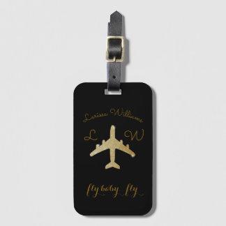 avion avec le nom et les initiales, voyage d'or étiquette à bagage