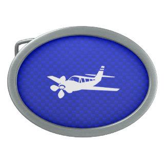 Avion bleu boucle de ceinture ovale