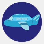 Avion bleu sticker rond