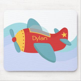Avion coloré et adorable de bande dessinée tapis de souris