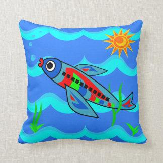 Avion coloré lunatique de poissons coussins carrés