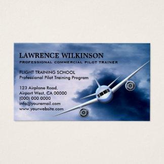 Avion commercial dans des cartes de visite