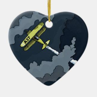 avion dans les nuages ornement cœur en céramique