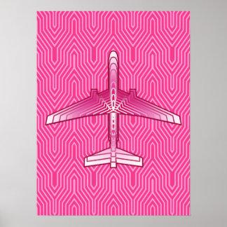 Avion d'art déco, fuchsia et rose en pastel poster