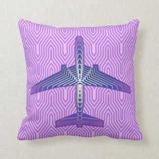 Avion d'art déco, gris pourpre et argenté violet coussin