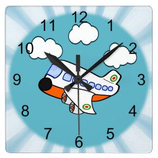 Avion de bande dessinée horloge carrée
