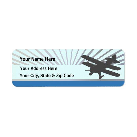 Avion de biplan étiquette d'adresse retour