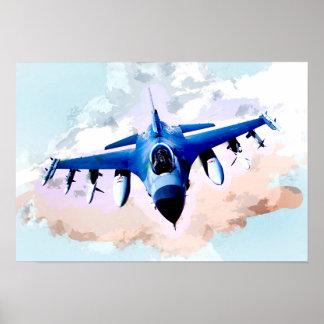 Avion de chasse dans la peinture de ciel poster