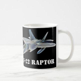 Avion de chasse de F-22 Raptor sur le noir Mug