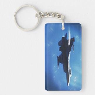 Avion de chasse du faucon F-16 Porte-clé Rectangulaire En Acrylique Une Face