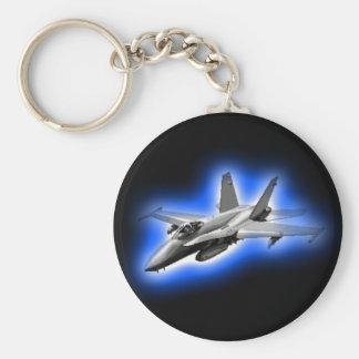 Avion de chasse du frelon F/A-18 bleu-clair Porte-clé Rond