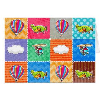 Avion lunatique, hélicoptère, et ballon à air cartes de vœux