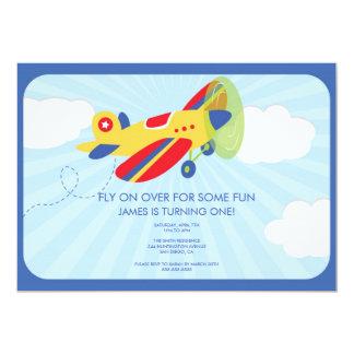 Avion mignon d'invitation de l'anniversaire du carton d'invitation  12,7 cm x 17,78 cm