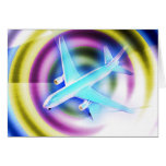 Avion psychédélique carte de vœux