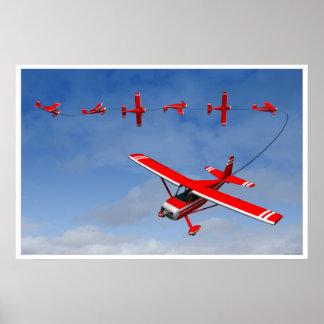Avion rouge exécutant un petit pain instantané posters