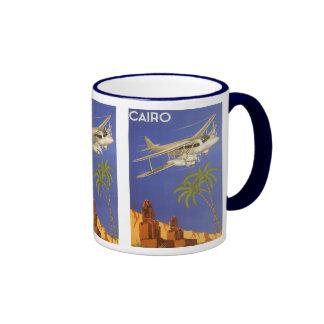 Avion vintage du Caire Egypte Afrique d'affiche de Mug Ringer