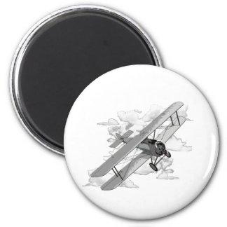 Avion vintage magnet rond 8 cm
