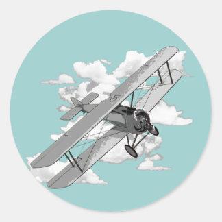 Avion vintage sticker rond