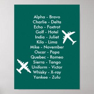 Avions d'alphabet de trafic aérien de pilote de poster