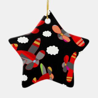 Avions mignons ornement étoile en céramique