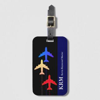 avions personnalisés de couleur de voyage étiquette à bagage