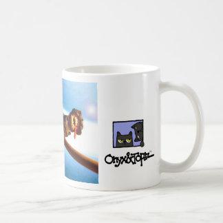avoine sur un balai au-dessus d'earth1, copie mug blanc