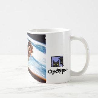avoine sur un manche à balai au-dessus d'earth7,  mug blanc