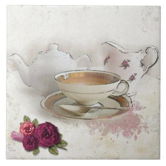 Avoir une tuile de thé de tasses de thé carreau