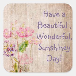 Ayez un autocollant rustique floral de beau jour