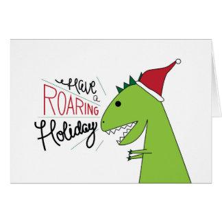 Ayez une carte de T-Rex Père Noël de vacances