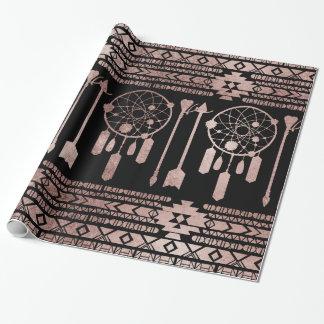 Aztèque tribal d'or rose de Dreamcatcher sur le Papier Cadeau