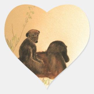 Babouins de mère et de bébé - primats de singes de sticker cœur