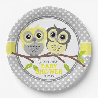 Baby shower adorable de hiboux assiette en papier 22,8 cm