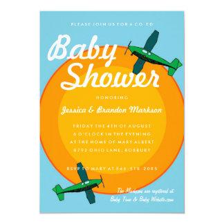 Baby shower antique de jumeau de garçon d'avions carton d'invitation  12,7 cm x 17,78 cm
