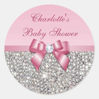 Baby shower argenté de diamant d'arc de rose de sticker rond
