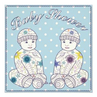 Baby shower avec des garçons de jumeaux carton d'invitation  13,33 cm