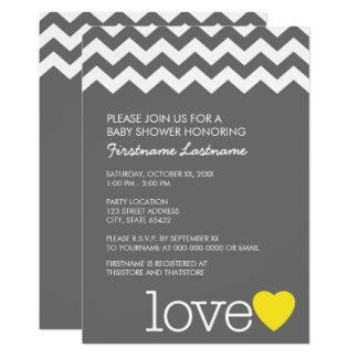 Baby shower avec les chevrons et le coeur modernes carton d'invitation  12,7 cm x 17,78 cm