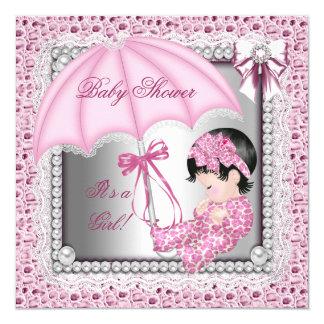 Baby shower blanc assez rose de fille carton d'invitation  13,33 cm