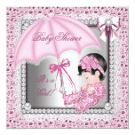 Baby shower blanc assez rose de fille faire-part personnalisables