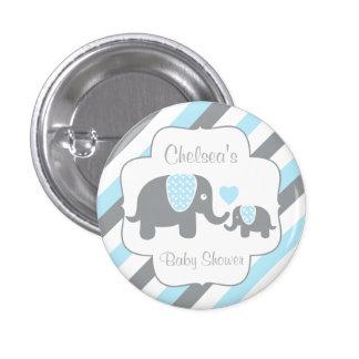 Baby shower blanc, bleu et gris d'éléphants de badge