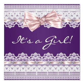 Baby shower blanc de pourpre de fille de ruban de carton d'invitation  13,33 cm