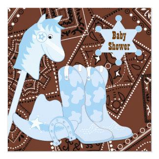 Baby shower bleu de cowboy de bottes de cowboy de carton d'invitation  13,33 cm