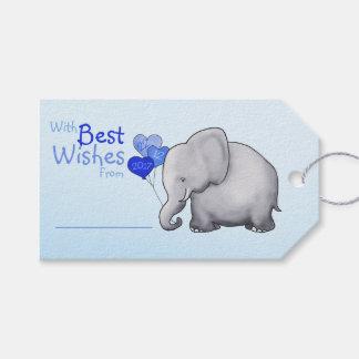 Baby shower bleu d'éléphant avec meilleurs voeux étiquettes-cadeau